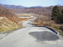 富士スピードウェイ、陥没した道路