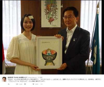 騒然! 能年玲奈改め「のん」が、岩手県庁に小学生レベルの絵を寄贈の画像1