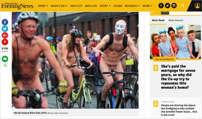 老若男女が素っ裸で自転車にまたがり……英マンチェスターに、謎のチン走団が登場!の画像1